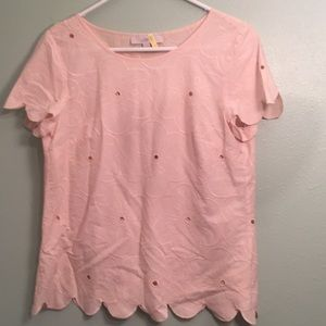 Loft blush pink/peach med floral embroidered top